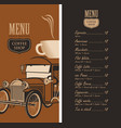 menu for a coffee shop with old car cup and price vector image vector image