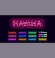 neon name of havana city vector image