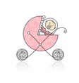 Newborn in babys buggy for your design vector image vector image