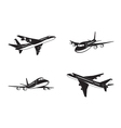 Passenger airplanes in perspective vector image vector image