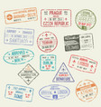 passport stamp of international travel visa design vector image vector image