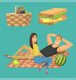 picnic setting with red wine glasses picnic hamper vector image