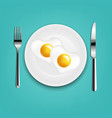 plate with fried eggs heart fork and knife with vector image vector image