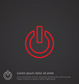 power on outline symbol red on dark background vector image vector image