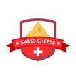 red badge with swiss cheese vector image vector image