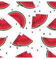 red watermelon slices seamless pattern vector image vector image