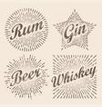 retro design sunburst radiant starburst for beer vector image