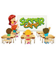 scene with teacher and students in classroom and vector image vector image