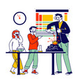 school children characters in lab watching teacher vector image