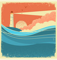 sea waves with lighthousevintage nature poster of vector image vector image