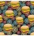 Seamless pattern with doodle hamburger on the vector image vector image