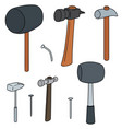 set of hammer and nails vector image