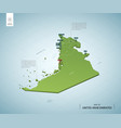 stylized map united arab emirates isometric 3d vector image vector image
