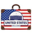 suitcase in colors american flag vector image vector image