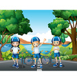 Three girls riding bike on the road vector image vector image