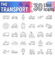 transport thin line icon set vehicle symbols vector image vector image