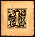 vintage initial letter i with baroque decorations vector image vector image