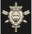 Vintage symbol of a lion head with crown