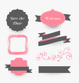 vintage wedding decoration elements collection vector image