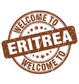 welcome to eritrea brown round vintage stamp vector image vector image