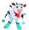 white cow symbol 2021 skiing fun cartoon vector image vector image