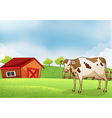 A cow in the farm with a barn house vector | Price: 1 Credit (USD $1)