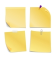 Adhesive blank notes stick with pin clip and vector image vector image