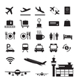 Airport Icons and Symbols Silhouette Set vector image