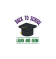 back to school calligraphic designs label style vector image vector image