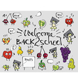 Back to school fruit doodle set background