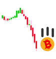 bitcoin fall down flat icon vector image vector image