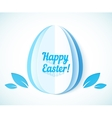 Blue Happy Easter sign on paper egg vector image vector image