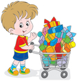 Boy with a shopping trolley of gifts vector image
