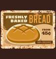 bread metal rusty plate bakery shop vintage sign vector image vector image