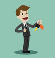 car sale businessman or manager is holding a key vector image