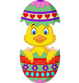 cartoon duckling come out from an easter egg vector image vector image