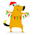 christmas dog character cartoon vector image