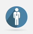 Circle blue icon business man in a tie vector image
