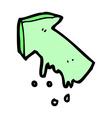 comic cartoon slimy pointing arrow symbol vector image vector image