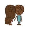 couple back with holding hands vector image