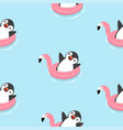 cute penguin with flamingo float pattern vector image