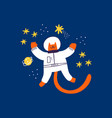 cute red cat astronaut flying in outer space hand vector image