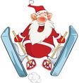 Cute Santa Claus Ski Jumping vector image