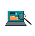 delivery route on laptop screen icon vector image vector image
