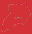 detailed of a map of uganda with flag eps10 vector image vector image