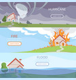 disaster weather banners tsunami volcano wind vector image