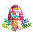eggs painted and flowers easter celebration vector image