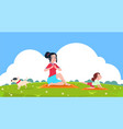 family yoga girl outdoor stretching exercise in vector image