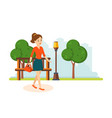 girl in skirt and blouse walks in park resting vector image vector image