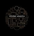 Gold mono line kitchen utensils logo vector image vector image